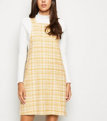 Mustard Textured Check Pinafore Dress