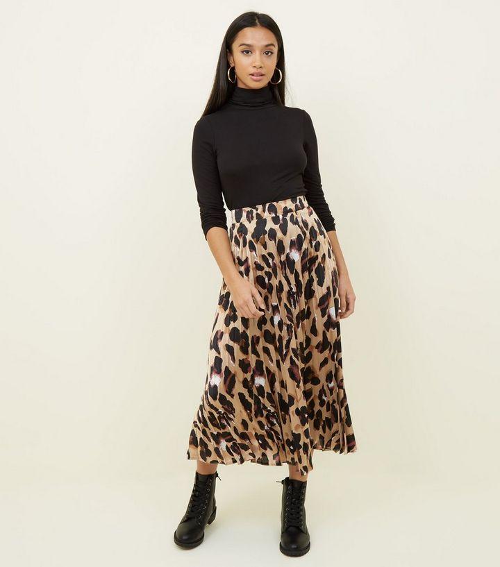 04c11eb164 Petite Leopard Print Pleated Satin Midi Skirt | New Look