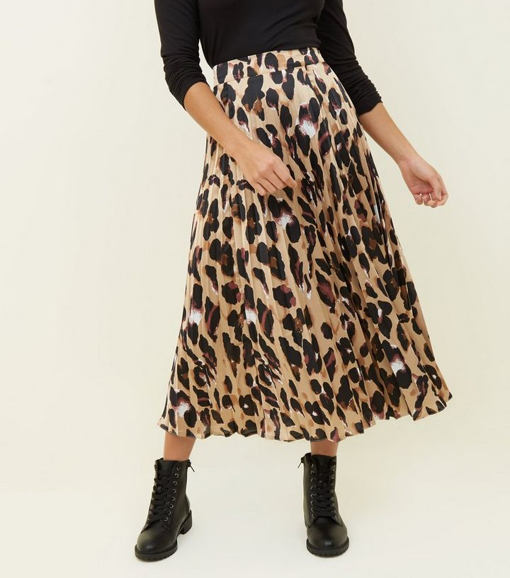 online for sale detailed pictures look for Petite Leopard Print Pleated Satin Midi Skirt Add to Saved Items Remove  from Saved Items