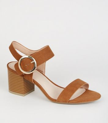 Tan Comfort Flex Ring Buckle Block Heels