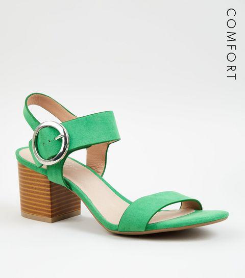 18ffef4ff80 ... Green Comfort Flex Ring Buckle Block Heel ...