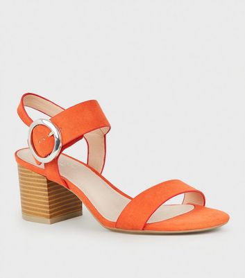 Bright Orange Comfort Flex Ring Buckle Block Heels