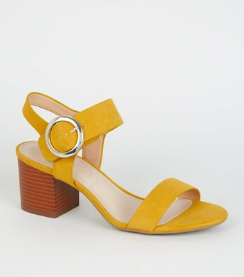 Mustard Comfort Flex Ring Buckle Block Heels