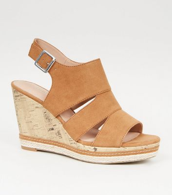 Tan Comfort Cut Out Cork Effect Wedges