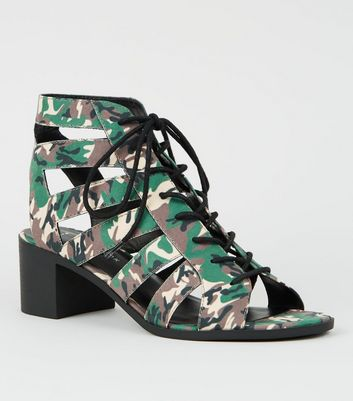 Green Camo Lace Up Ghillie Heel Sandals