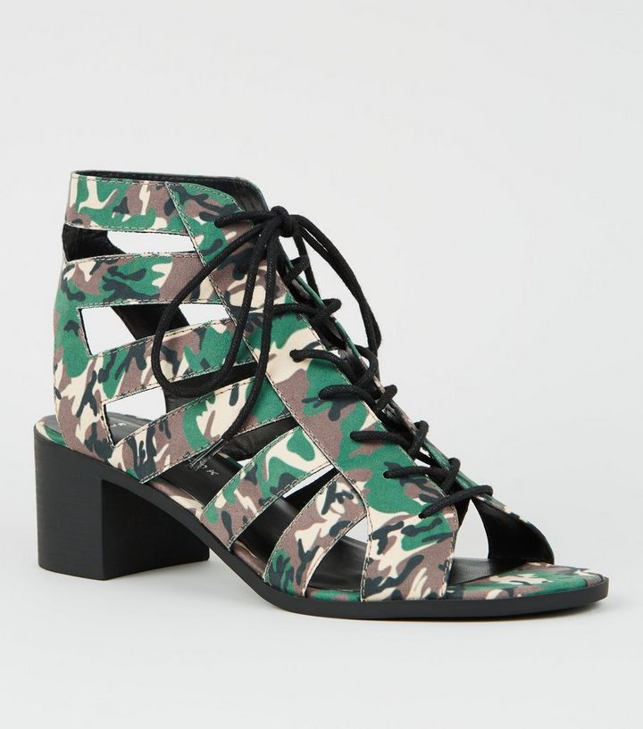 316335491a5 Green Camo Lace Up Ghillie Heel Sandals