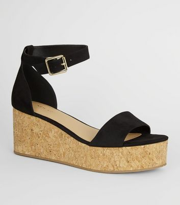 Black Ankle Strap Cork Effect Flatforms
