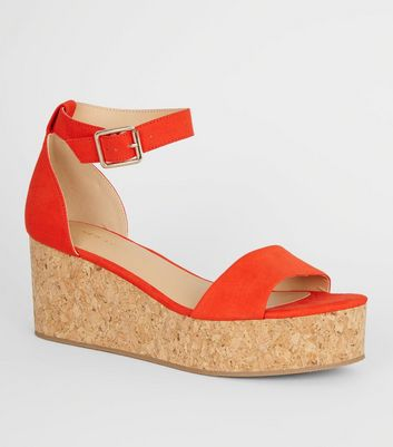 Bright Orange Ankle Strap Cork Effect Flatforms