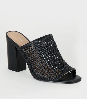 Black Leather-Look Woven Peep Toe Mules