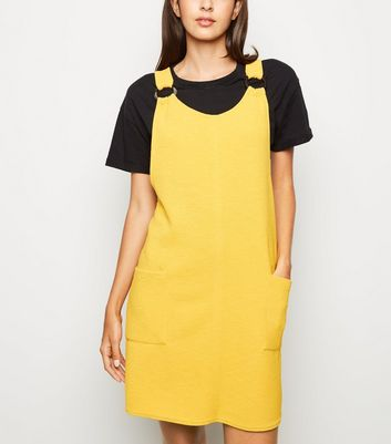Mustard Crepe Resin Ring Pinafore Dress