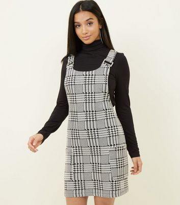 Petite Black Houndstooth Pinafore Dress