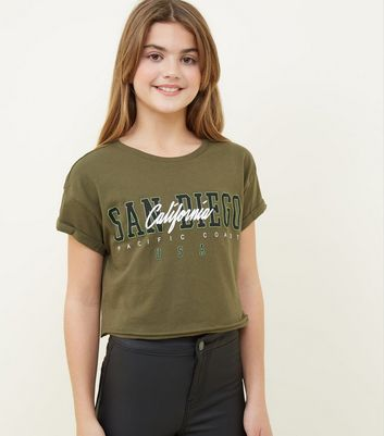 Girls Khaki San Diego Slogan T-Shirt