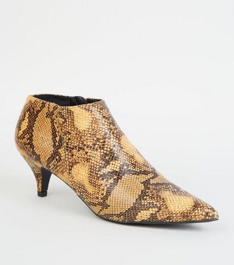 a3922f2368e9 ... Yellow Faux Snake Kitten Heel Shoe Boots ...