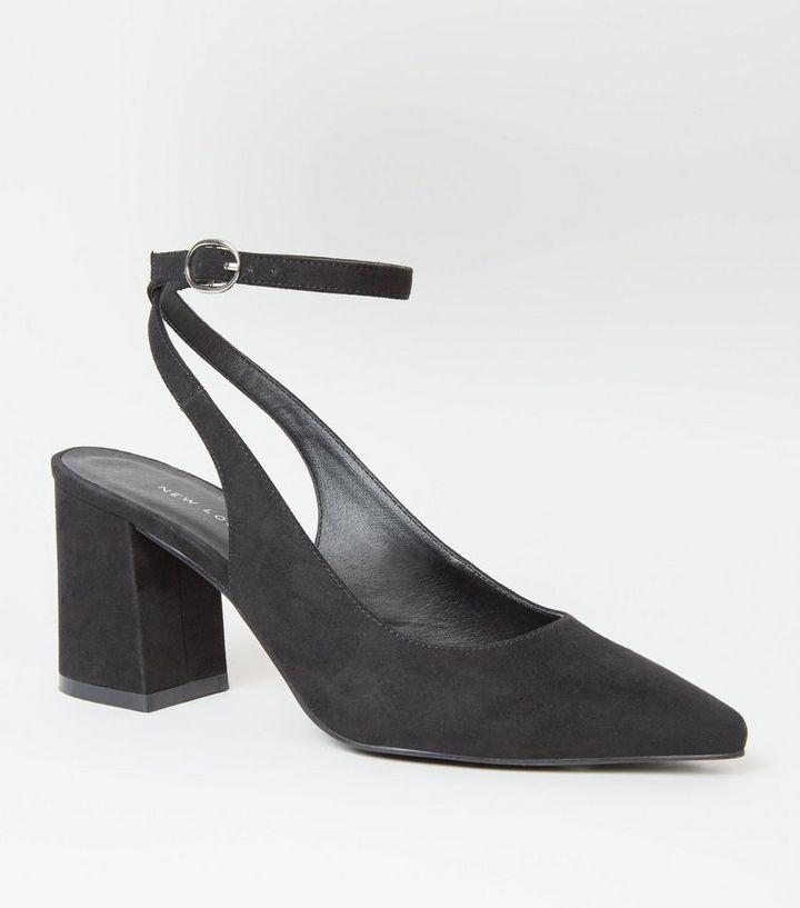 0e3f73b7d618 Black Suedette Slingback Block Heels