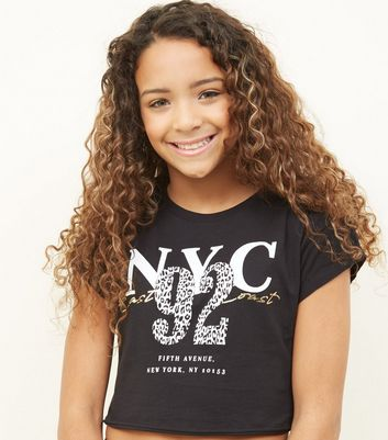 Girls Black NYC Leopard Print Logo T-Shirt