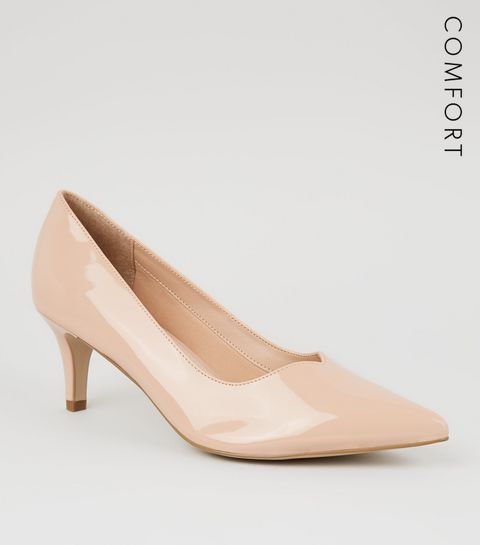 bf54b857ff1e ... Nude Comfort Flex Patent Kitten Heel Courts ...