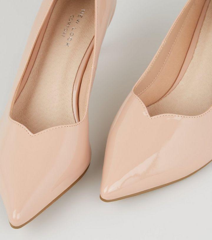 b7f1c915f9 Nude Comfort Flex Patent Kitten Heel Courts | New Look