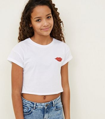 Girls White Weekend Mode Slogan T-Shirt