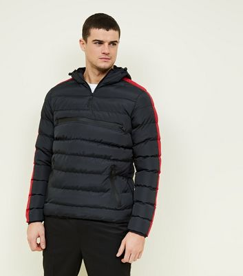 Red Side Stripe Puffer Jacket