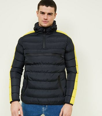 Yellow Side Stripe Puffer Jacket