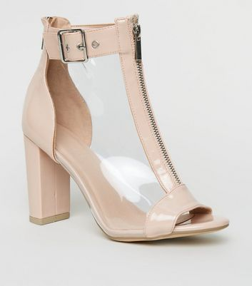 Nude Clear Panel Block Heel Peep Toes