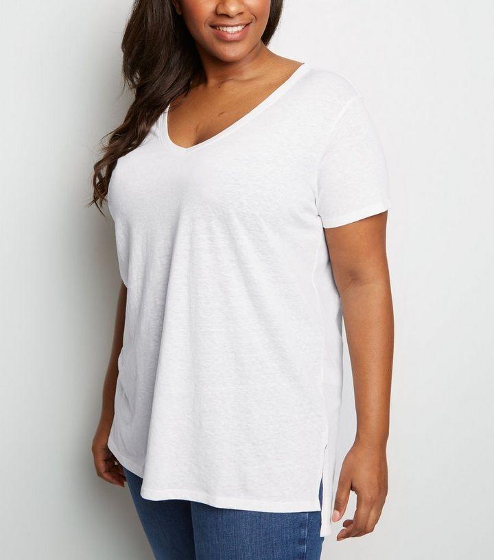 41de228f38 Curves Off White V Neck Step Hem T-Shirt