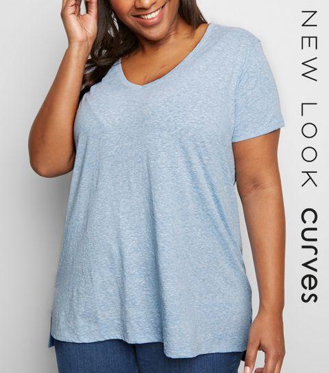 c020b7e4f0 ... Curves Pale Blue V Neck Step Hem T-Shirt ...