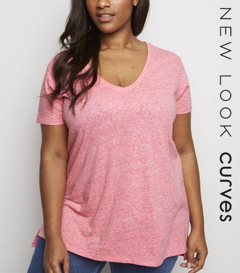 099c1ba884 ... Curves Deep Pink V Neck Step Hem T-Shirt ...
