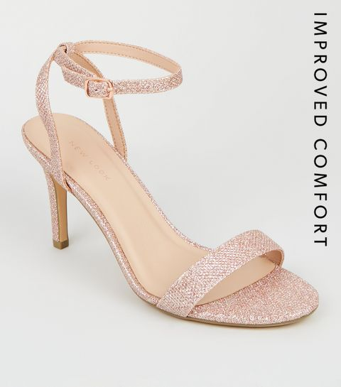 4e0e4c33246 ... Rose Gold Glitter Ankle Strap Sandals ...