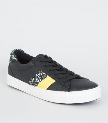 Black Leopard Print Side Stripe Trainers