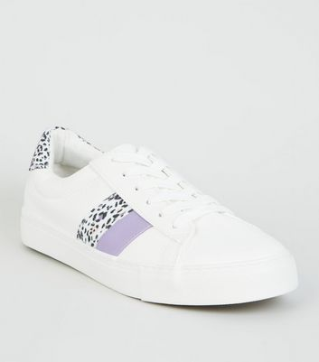 White Leopard Print Side Stripe Trainers