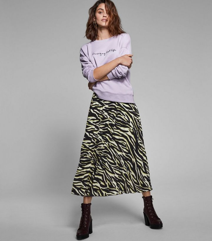 08cf3926dd Black and Neon Zebra Print Midi Skirt Add to Saved Items Remove from Saved  Items