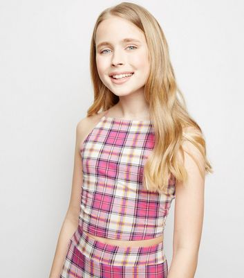 Girls Pink Check Square Neck Cami