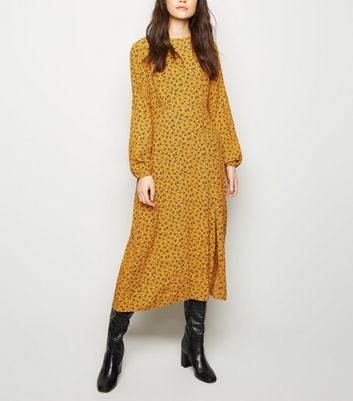 Mustard Floral Long Sleeve Midi Dress