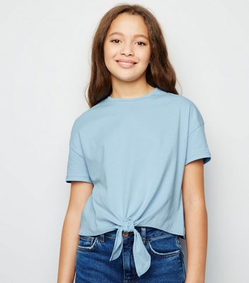 Girls Pale Blue Tie Front T-Shirt