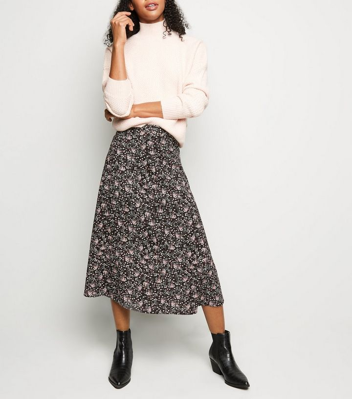 2440a52a3 Black Ditsy Floral Midi Skirt | New Look