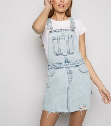 Pale Blue Acid Wash Denim Pinafore Dress