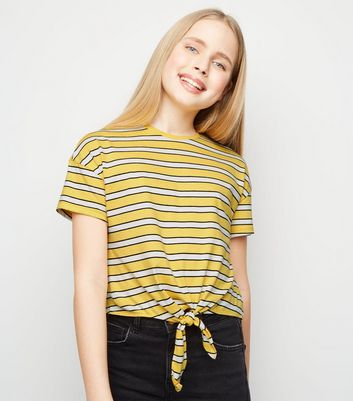 Girls Yellow Stripe Tie Front T-Shirt