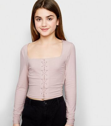 Girls Pink Lattice Front Square Neck Top