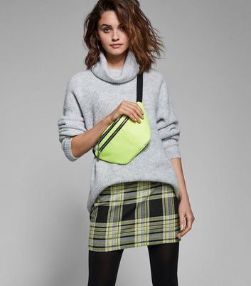 Black and Neon Yellow Check Tube Skirt