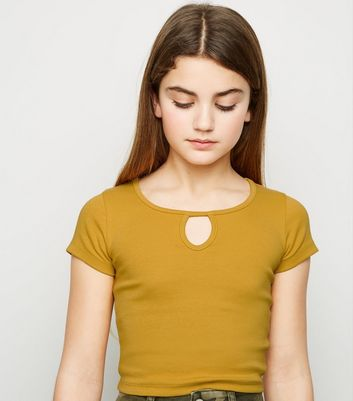 Girls Mustard Keyhole Neck Ribbed T-Shirt