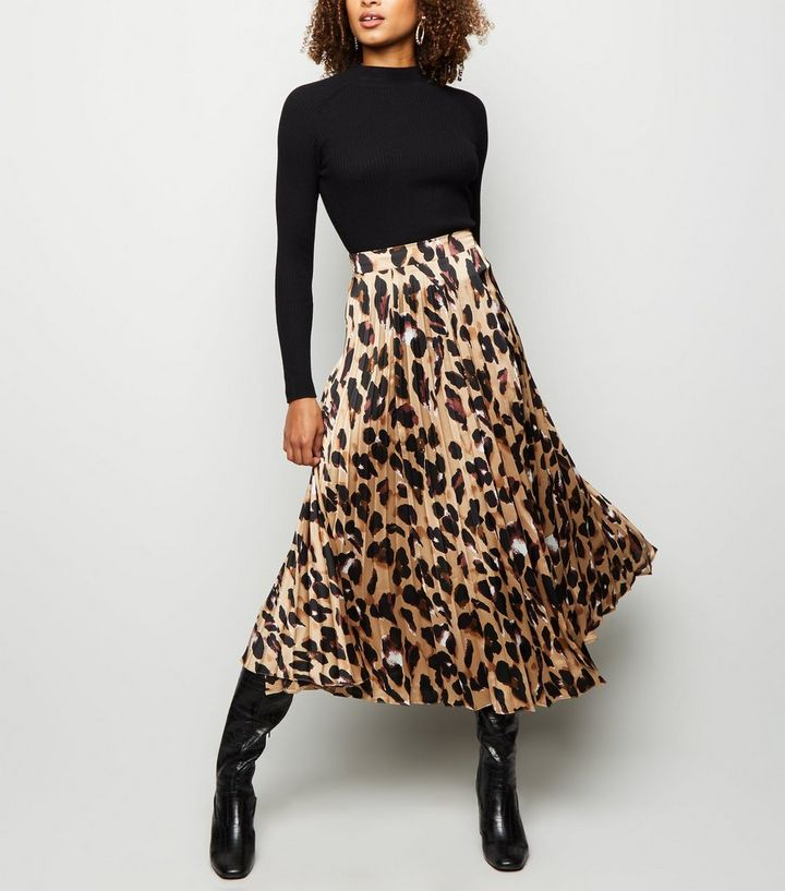 premium selection promo codes best sell Tall Brown Leopard Print Pleated Satin Midi Skirt Add to Saved Items Remove  from Saved Items