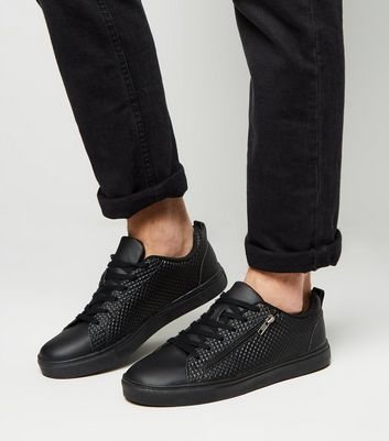 Black Geometric Textured Zip Side Trainers