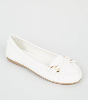 Wide Fit White Leather-Look Moccasin Loafers