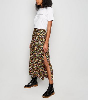 Tall Black Ditsy Floral Midi Skirt