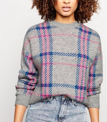 Tall Light Grey Neon Check Jumper