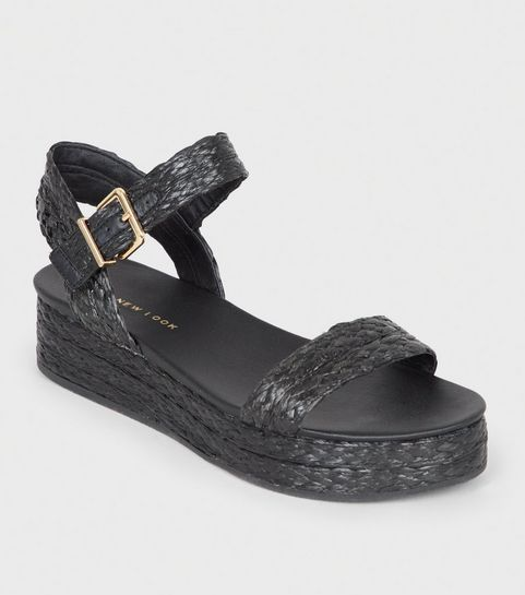 2e410aa06372e7 ... Black Straw Effect Espadrille Flatform Sandals ...