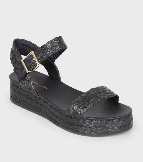 ab82e7b706d ... Black Straw Effect Espadrille Flatform Sandals ...