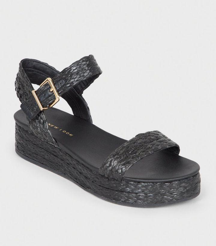 97938b376ae Black Straw Effect Espadrille Flatform Sandals