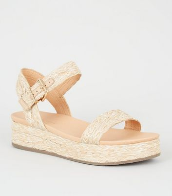 Off White Straw Effect Flatform Footbed Sandals